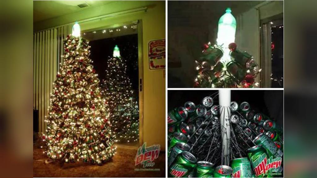 تزیین درخت کریسمس با قوطی نوشابه بازیافتی