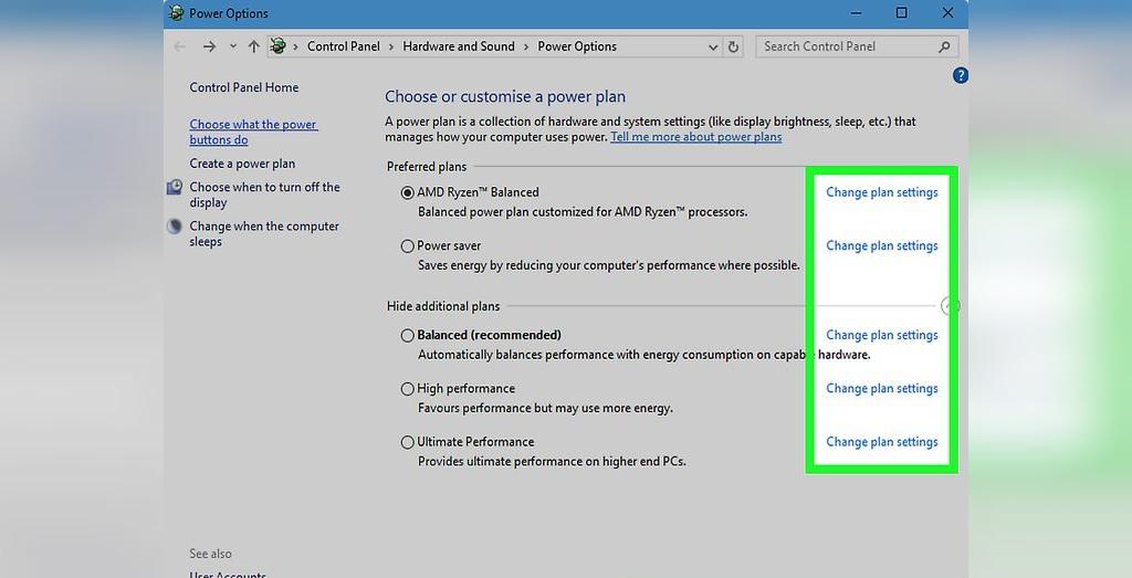 برای حل مشکل لپ تاپی که شارژ نمیشود، در پنجره باز شده، روی Change plan settings کلیک کنید