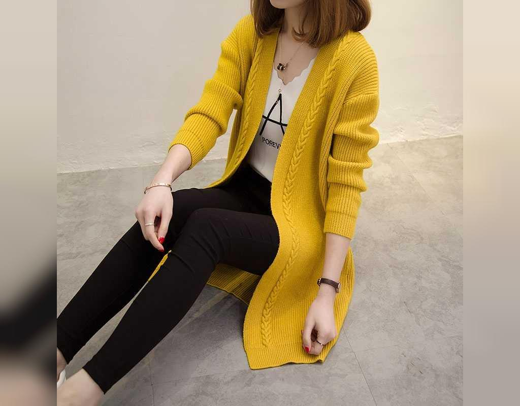 ژاکت بافتنی زنانه بلند جلو باز