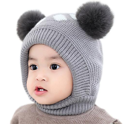 کلاه بافتنی لبه دار عروسکی پسرانه با دو میل