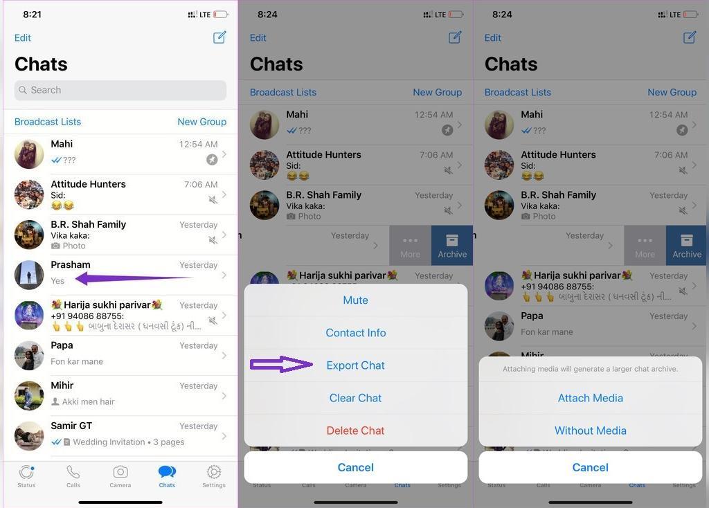 ترفند خارج کردن چت در واتساپ گوشی iOS