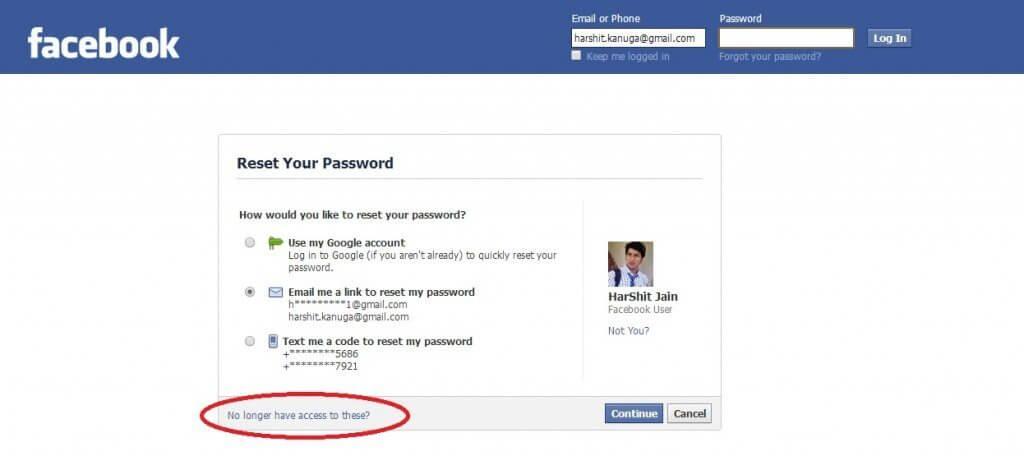 بازیابی رمز فیسبوک بدون ایمیل و شماره تلفن