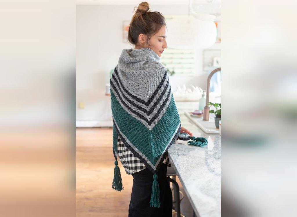 مدل روسری بافتنی زنانه با طرح دار