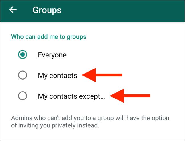 جلوگیری از اد شدن بی اجازه در گروه های واتساپ