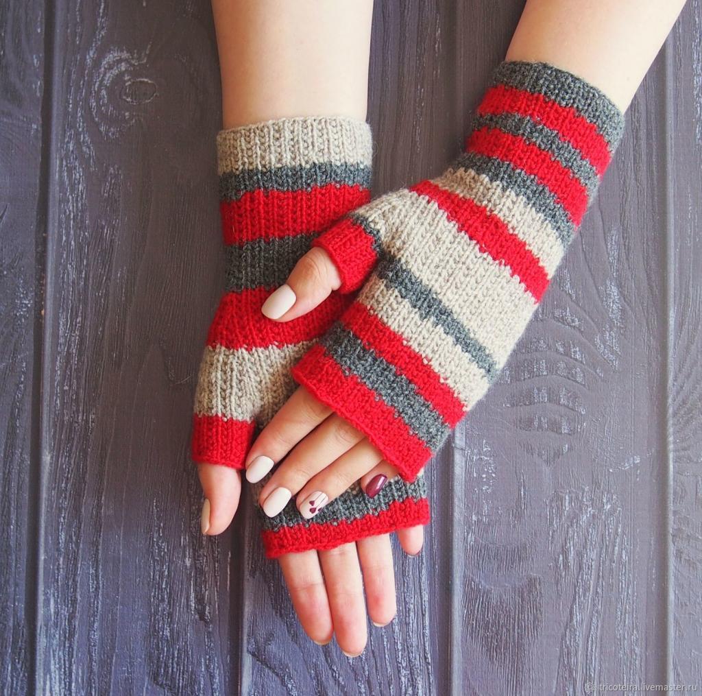 آموزش دستکش بافتنی دخترانه با دو میل