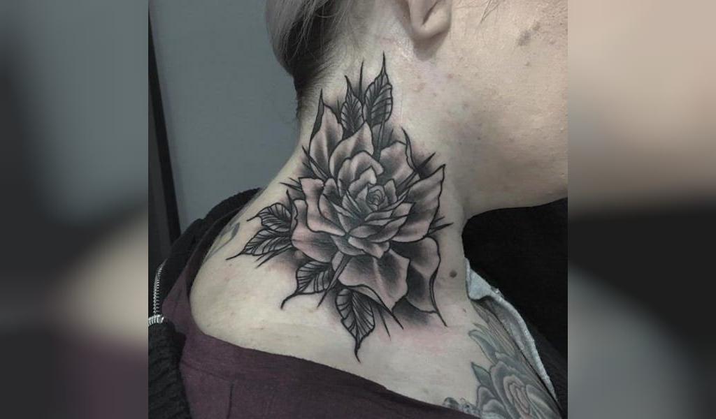 طرح تاتو گردن مردانه گل رز سیاه
