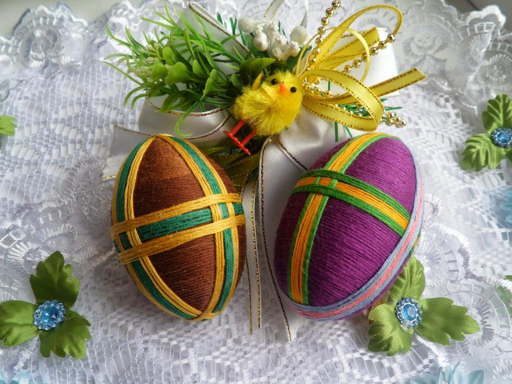 تزیینات تخم مرغ با نخ و کاموا