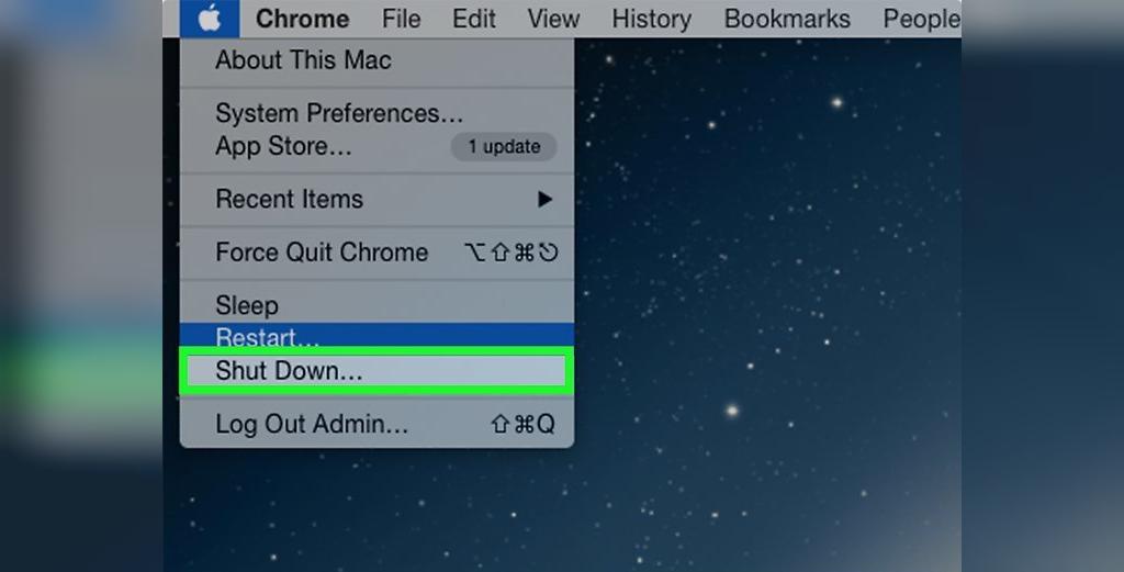 برای حل مشکل شارژ نشدن باتری لپ تاپ مک بوک، کامپیوتر Mac خود را خاموش کنید