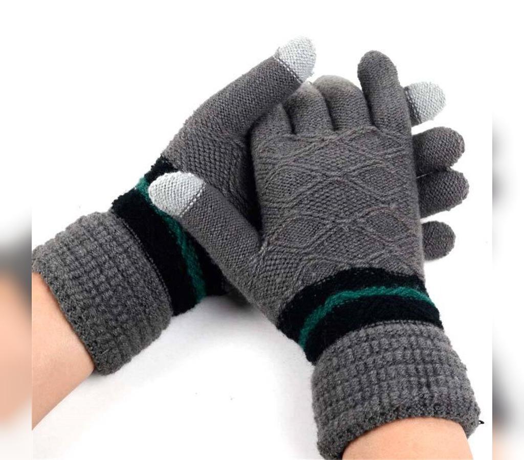 مدل دستکش بافتنی مردانه جدید طرح لوزی