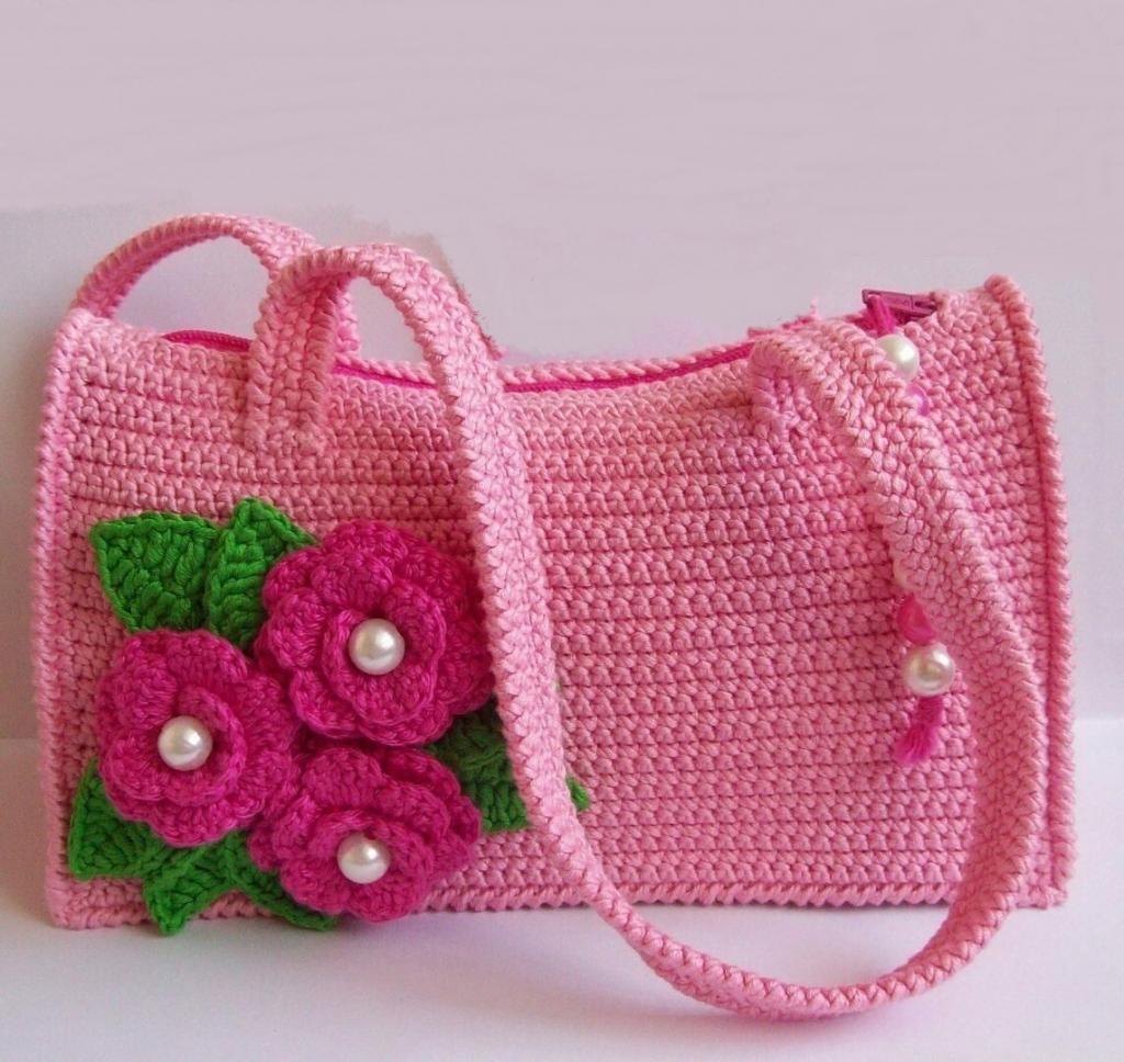 کیف بافتنی زنانه گل دار