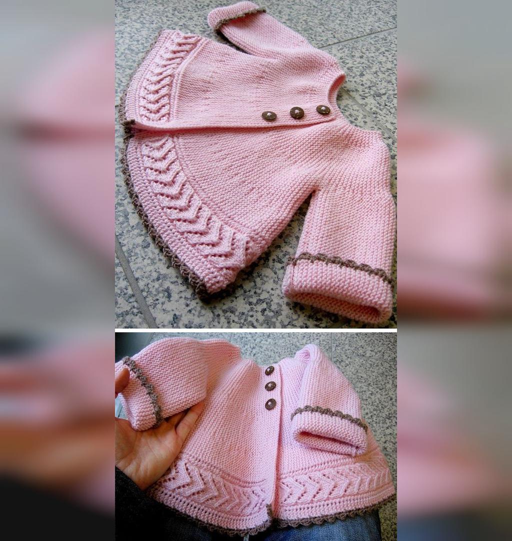 لباس بافتنی نوزاد دخترانه مدل ژاکت