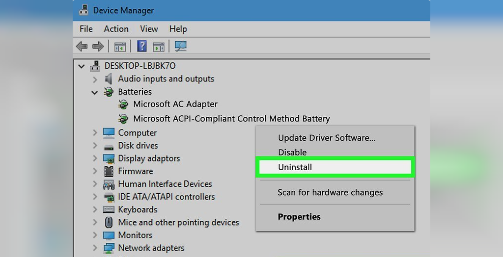 برای حل مشکل شارژ نشدن باتری لپ تاپ ویندوزی، درایور را Uninstall و مجددا نصب کنید