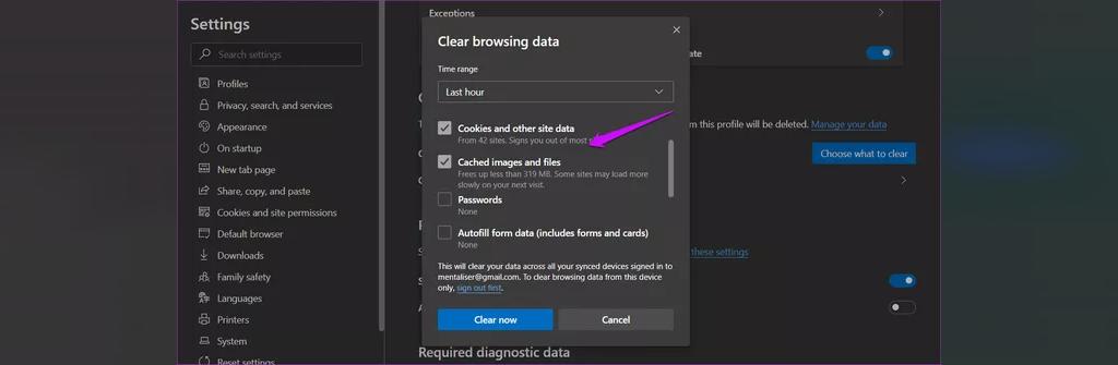 پاک کردن داده ها و حافظه نهان مرورگر برای رفع مشکل ضمیمه نشدن فایل در Gmail