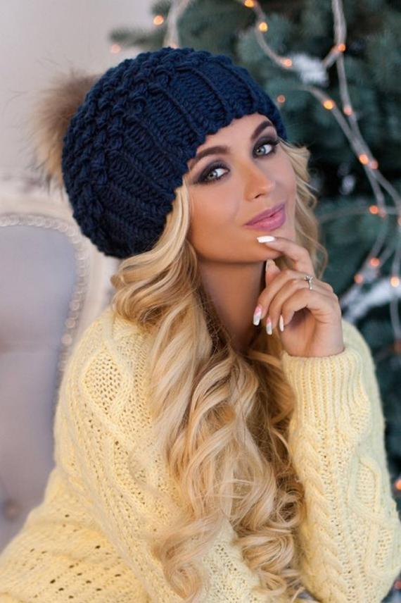 مدل کلاه بافتنی زنانه شیک با دو میل