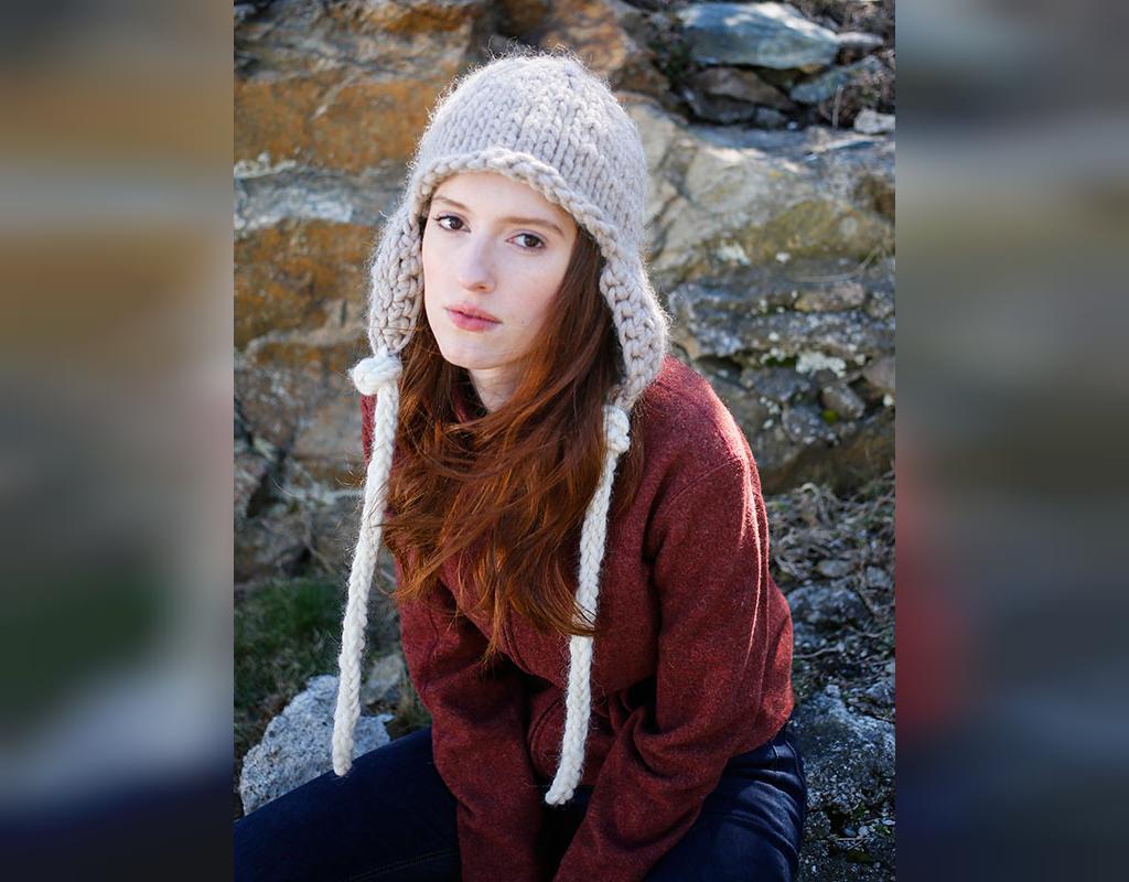 مدل جدید کلاه بافتنی گوش دار دخترانه ساده