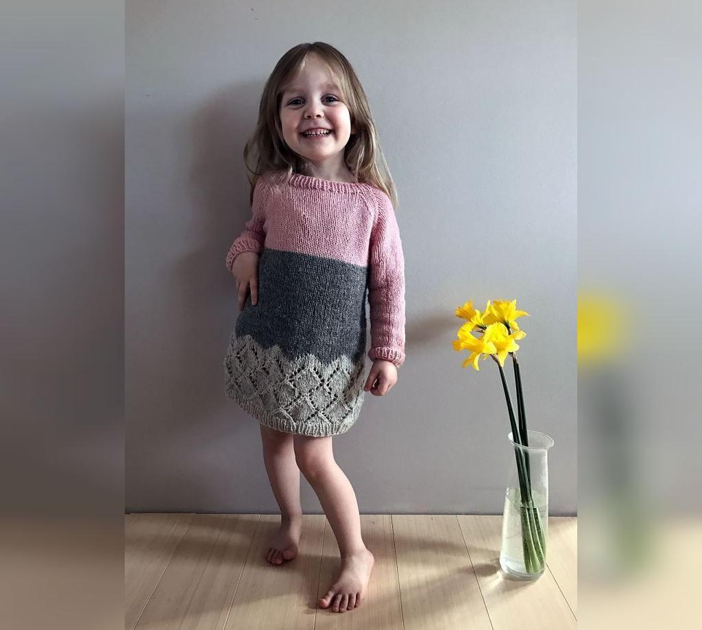 مدل لباس بلند بافتنی دخترانه