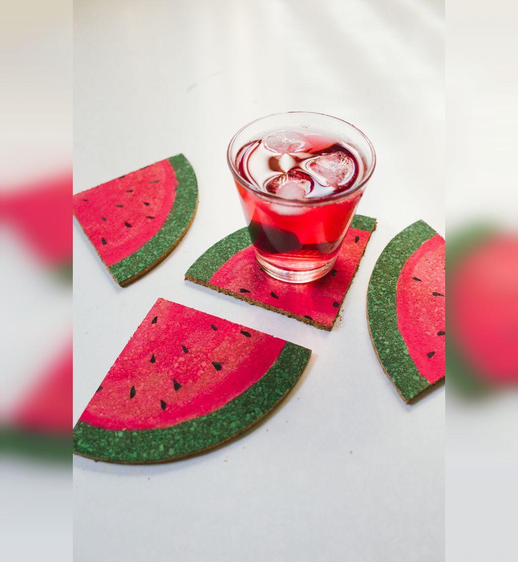کاردستی شب یلدا زیر لیوانی با طرح میوه هندوانه
