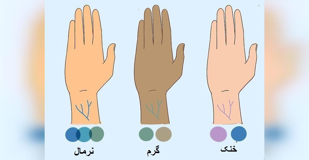 تشخیص رنگ پوست با توجه به رگ های داخل مچ
