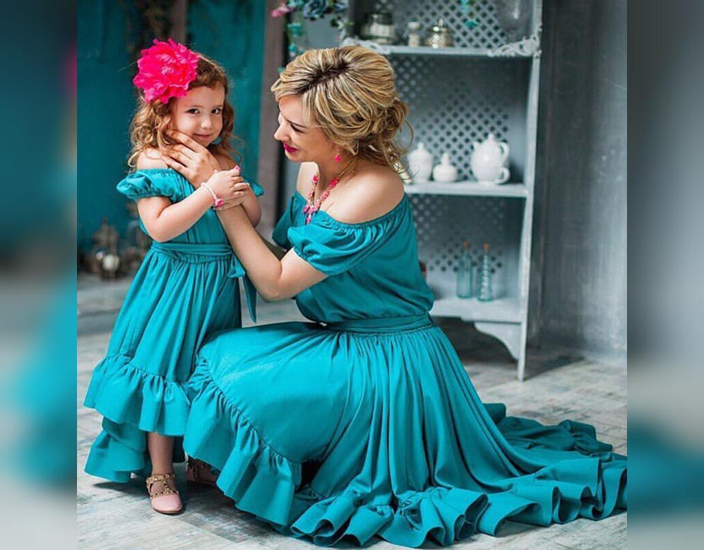 ست لباس مجلسی بلند مادر و دختر