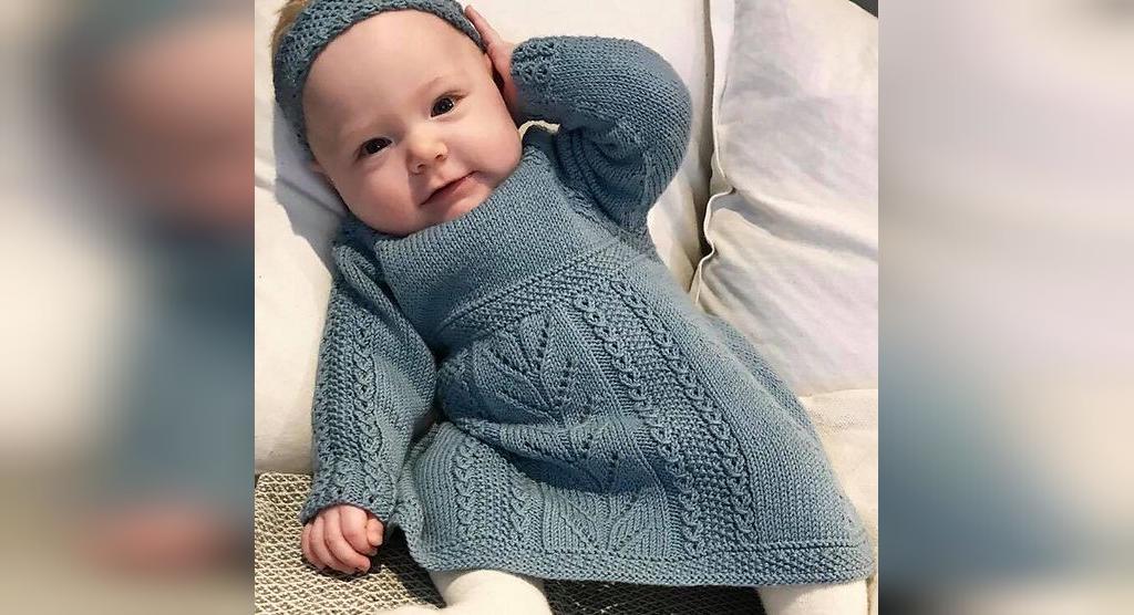 لباس بافتنی نوزاد دخترانه با هد