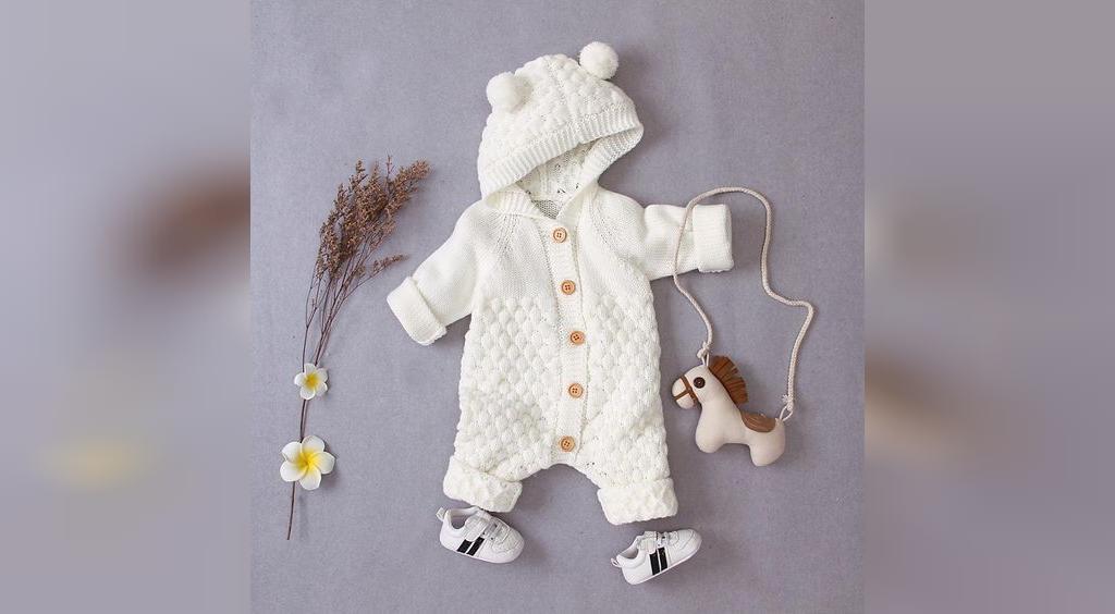 لباس بافتنی نوزاد پسر با میل