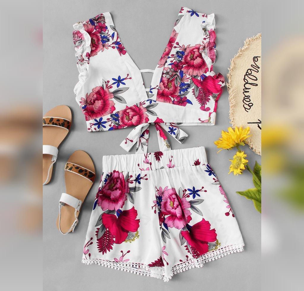 ست لباس دخترانه گل دار