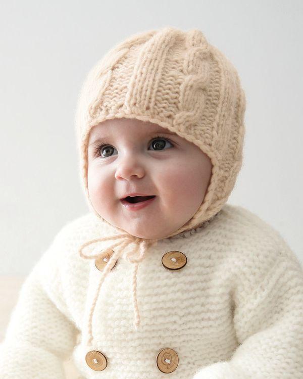 عکس کلاه ساده بافتنی نوزادی پسر