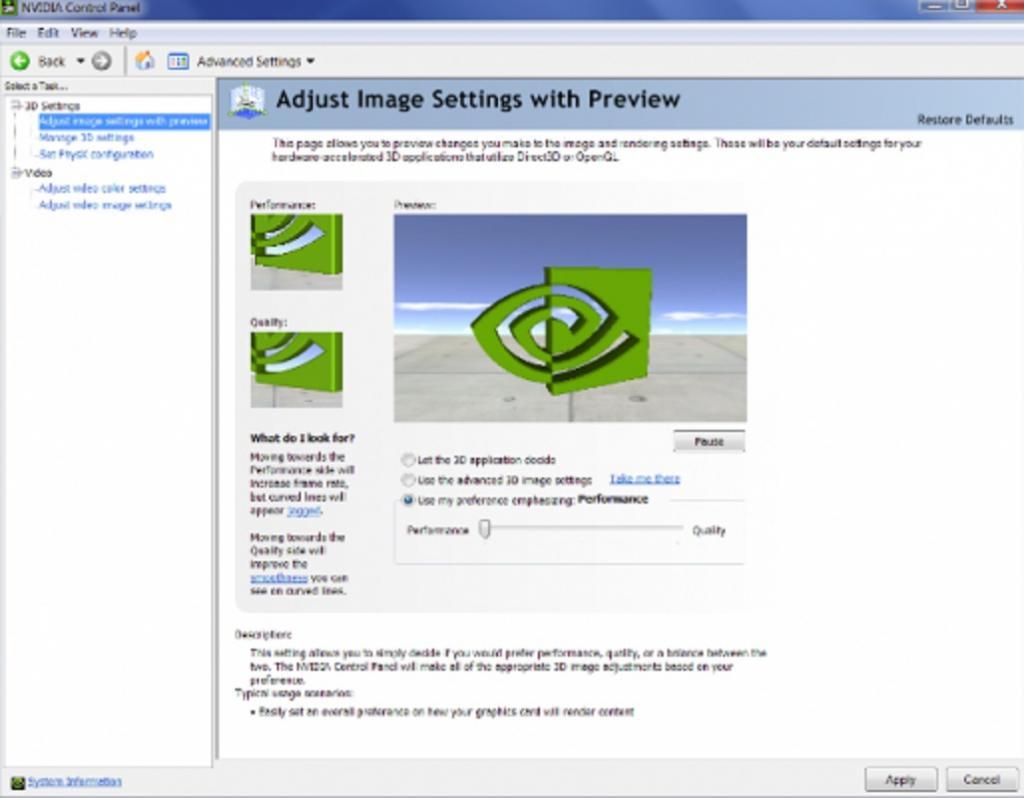 تنظیمات کارت های گرافیک NVIDIA