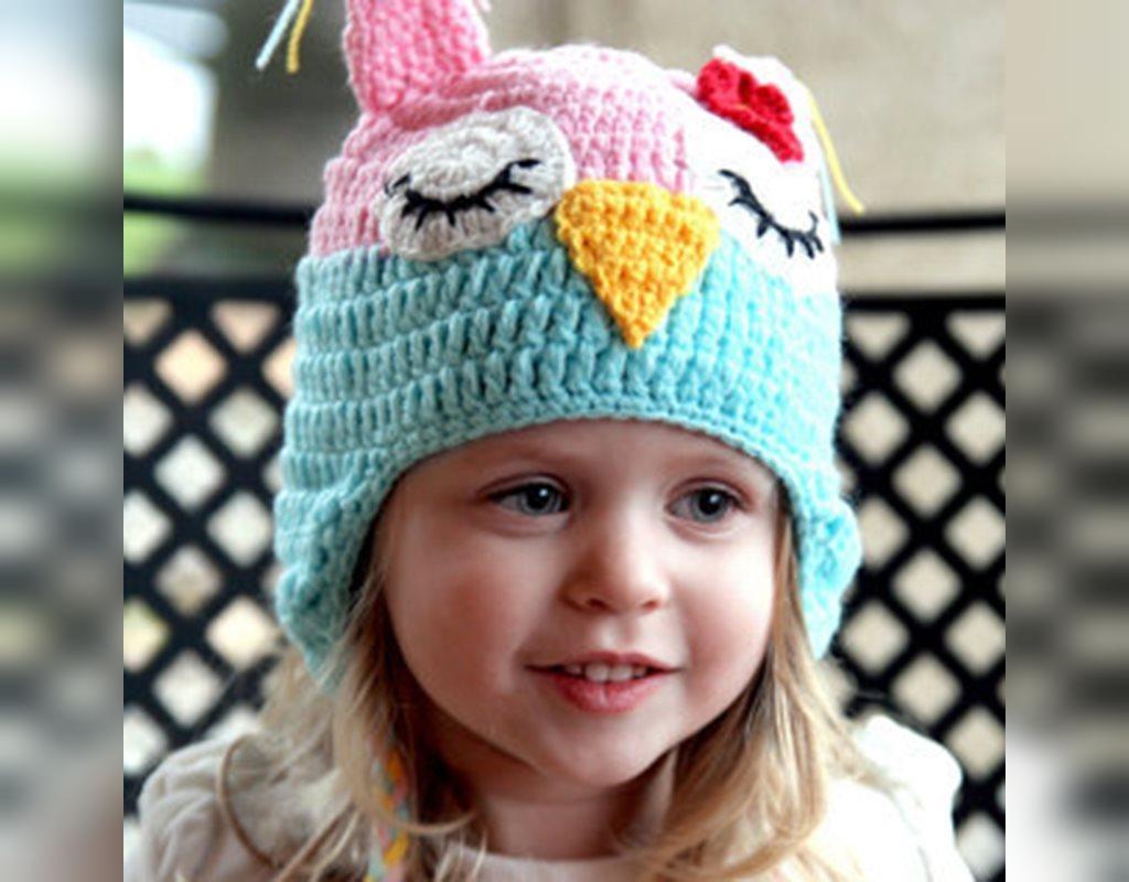 مدل کلاه بافتنی گوش دار دخترانه طرح جغد