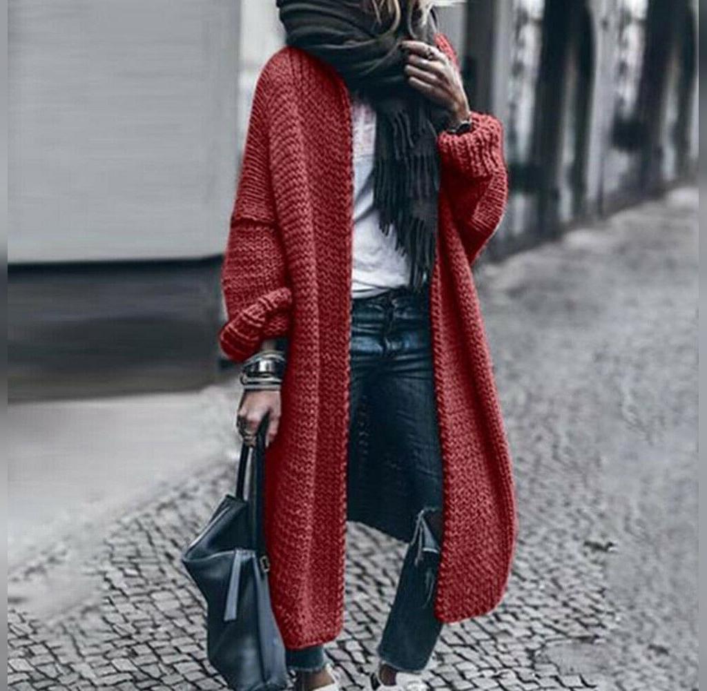 مدل مانتو بافتنی جلوباز ساده قرمز رنگ