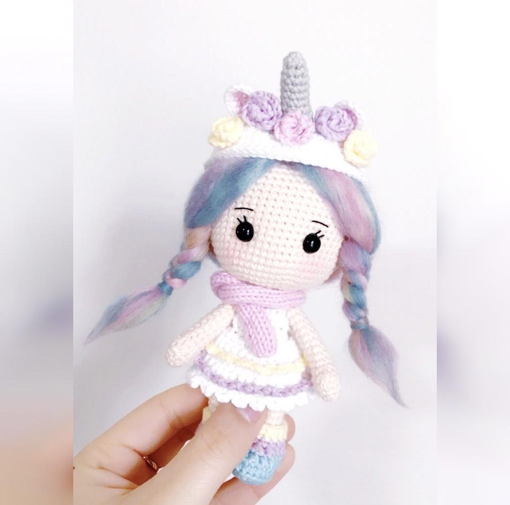 عکس عروسک بافتنی دخترانه مدل تک شاخ