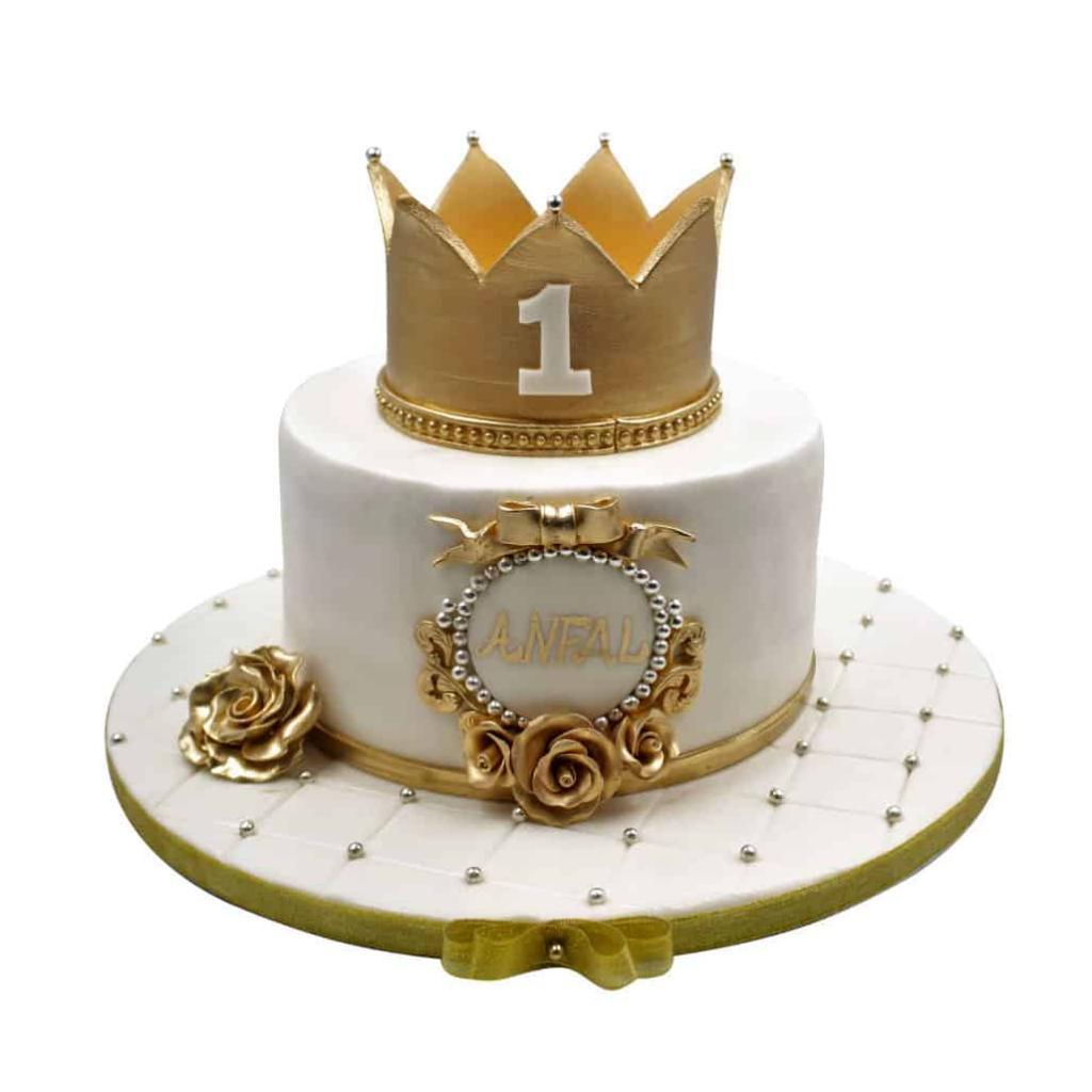 عکس کیک تولد مدل تاج طلایی