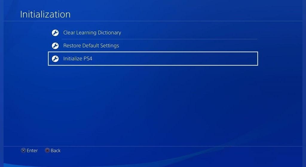 از داشبورد کنسول PS4 ریست کردن