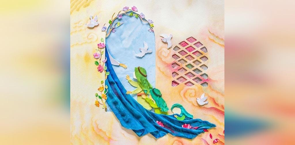 نقاشی کودکانه شهادت حضرت فاطمه سلام الله علیها