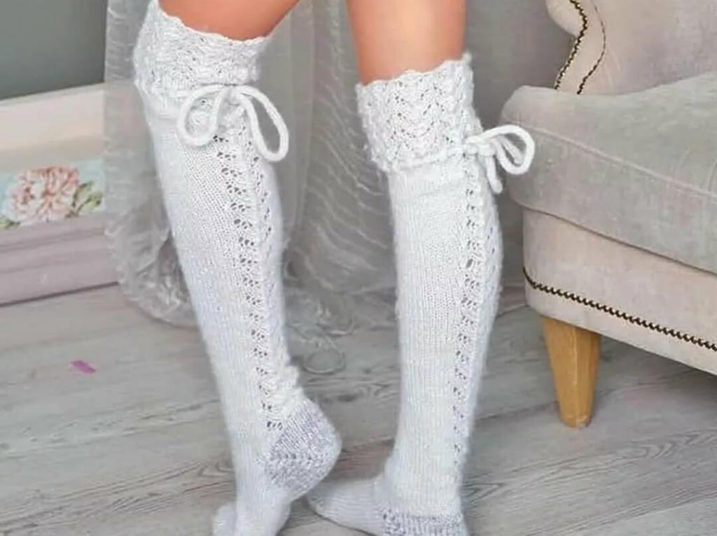 جوراب بافتنی دخترانه فانتزی ساق بلند