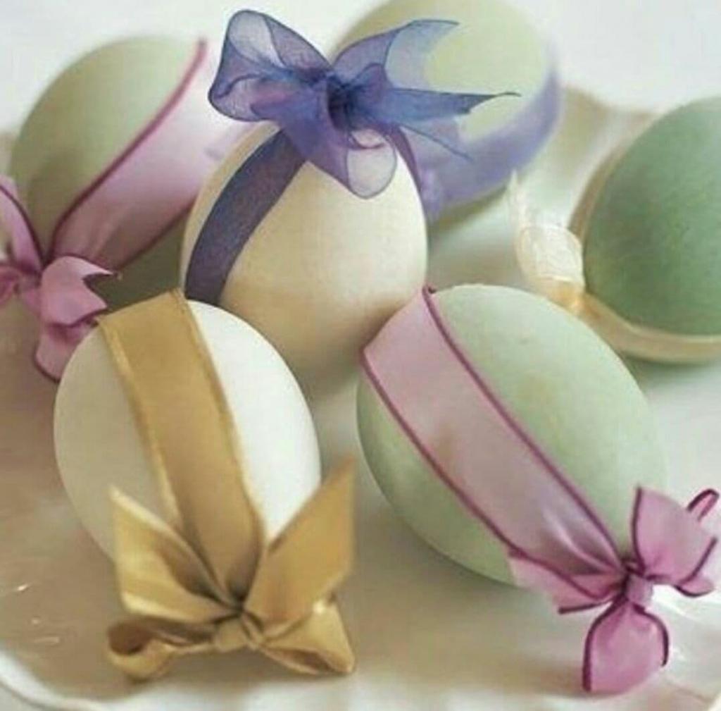 تزیین تخم مرغ سفره هفت سین با روبان