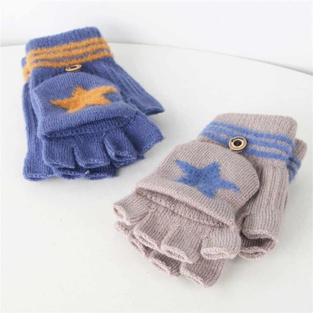 دستکش بافتنی دو تکه طرح ستاره