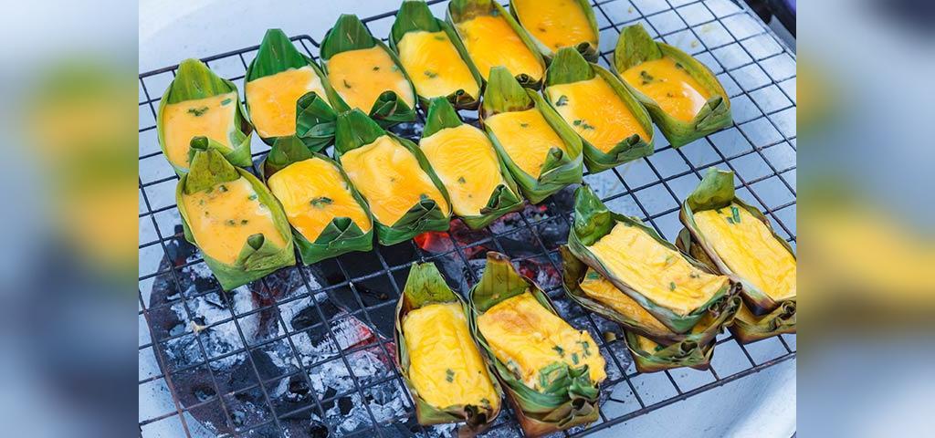 طرز تهیه تخم مرغ تایلندی کاستارد در برگ های موز برای کودکان