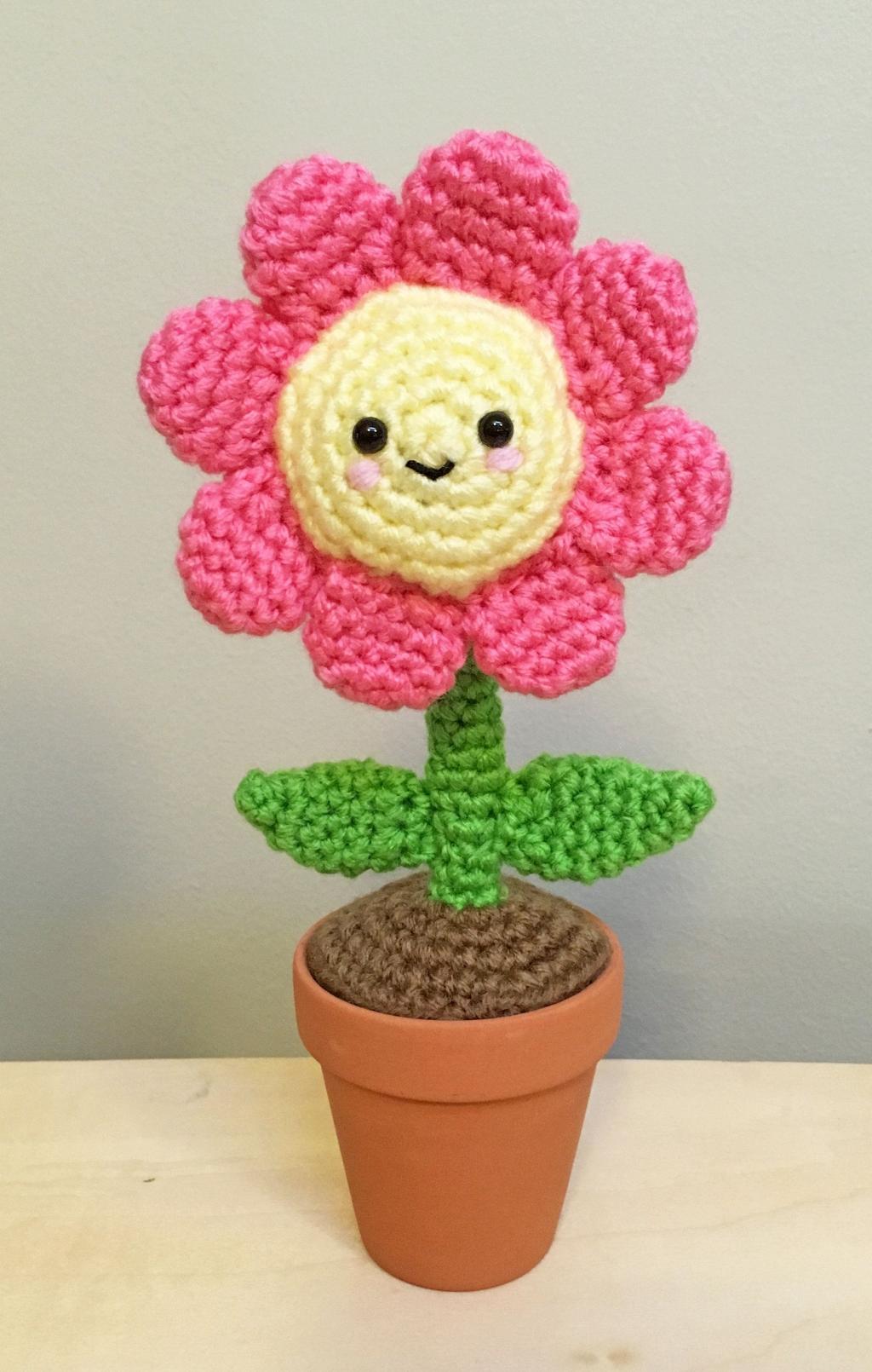 مدل گل عروسکی بافتنی فانتزی