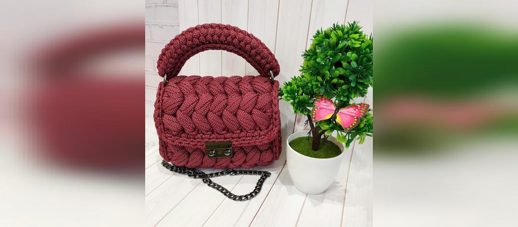 کیف بافتنی دستی زنجیر دار