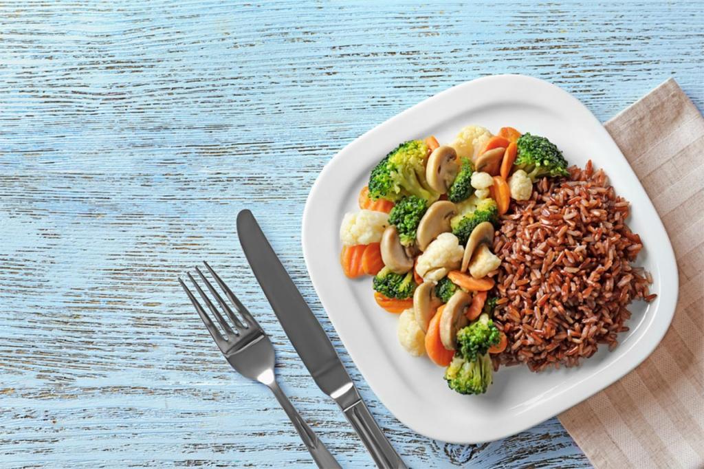 طرز پخت برنج قهوه ای و سبزیجات
