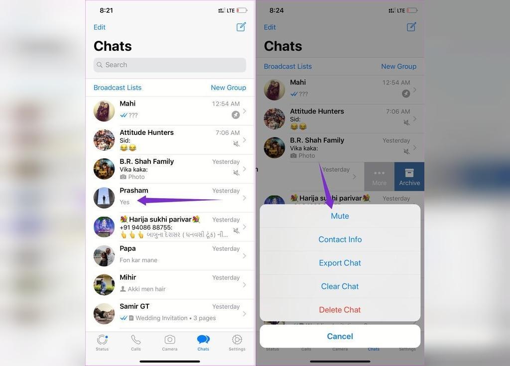 روش فعال سازی بی صدا کردن چت در واتساپ گوشی آیفون