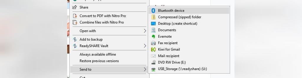 گزینه انتقال به در روش انتقال فایل از کامپیوتر به گوشی با بلوتوث