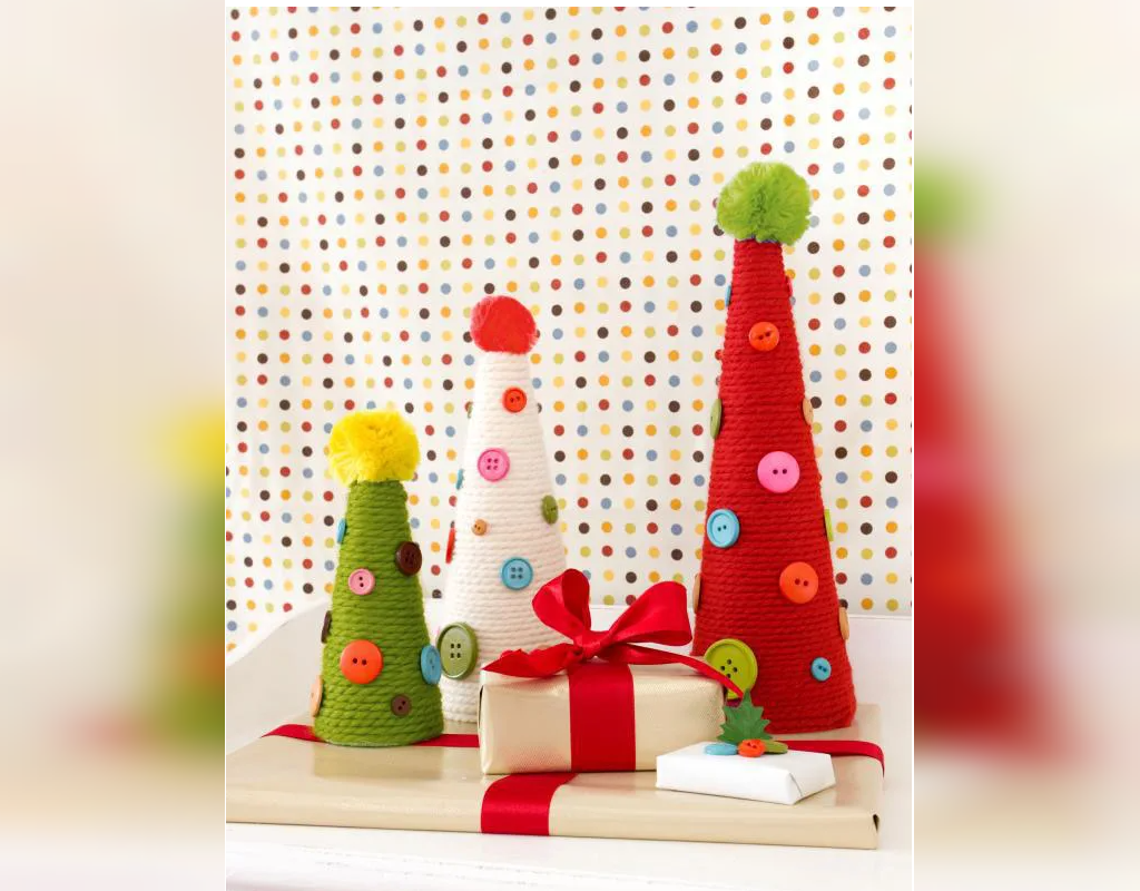 تزیین درخت کریسمس با کاموا