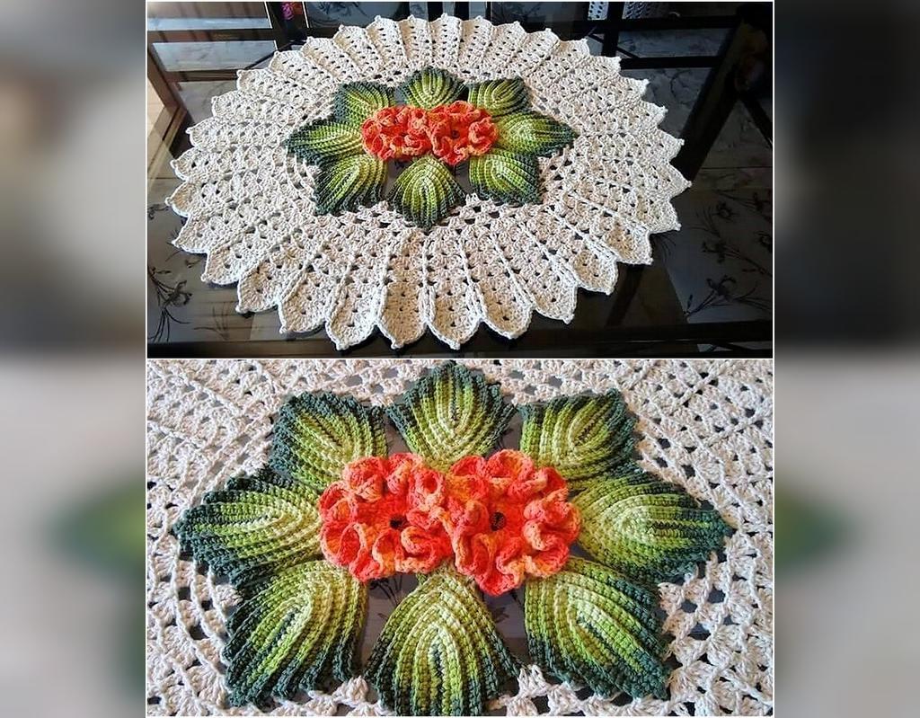 مدل های جدید رومیزی بافتنی طرح گل درشت