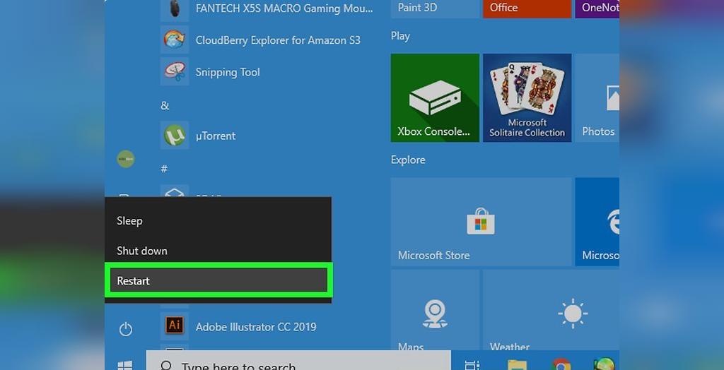 برای حل مشکل شارژ نشدن باتری لپ تاپ ویندوزی، کامپیوتر را مجدداً راه اندازی کنید