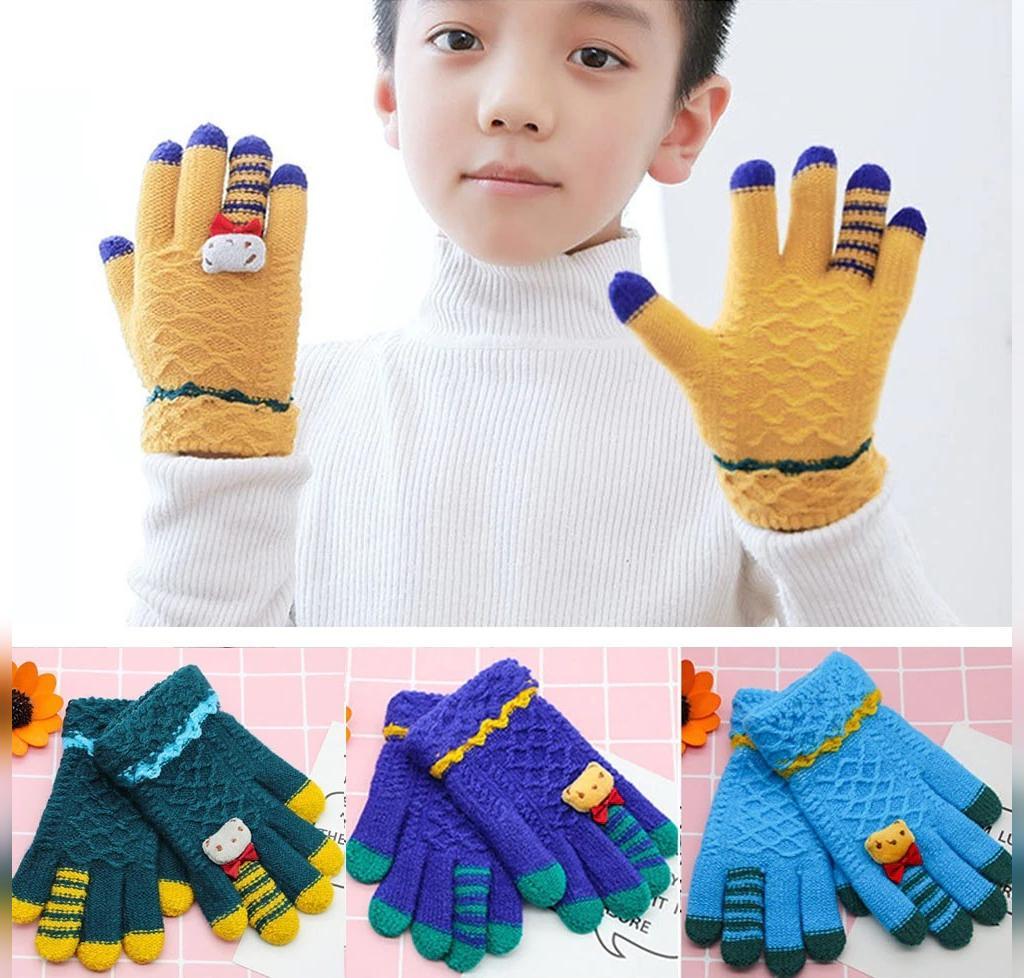 دستکش بافتنی پسرانه طرح لوزی عروسکی