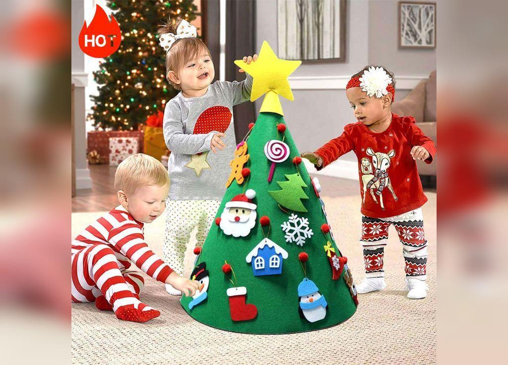 تزیین درخت کریسمس با نمد برای بچه ها