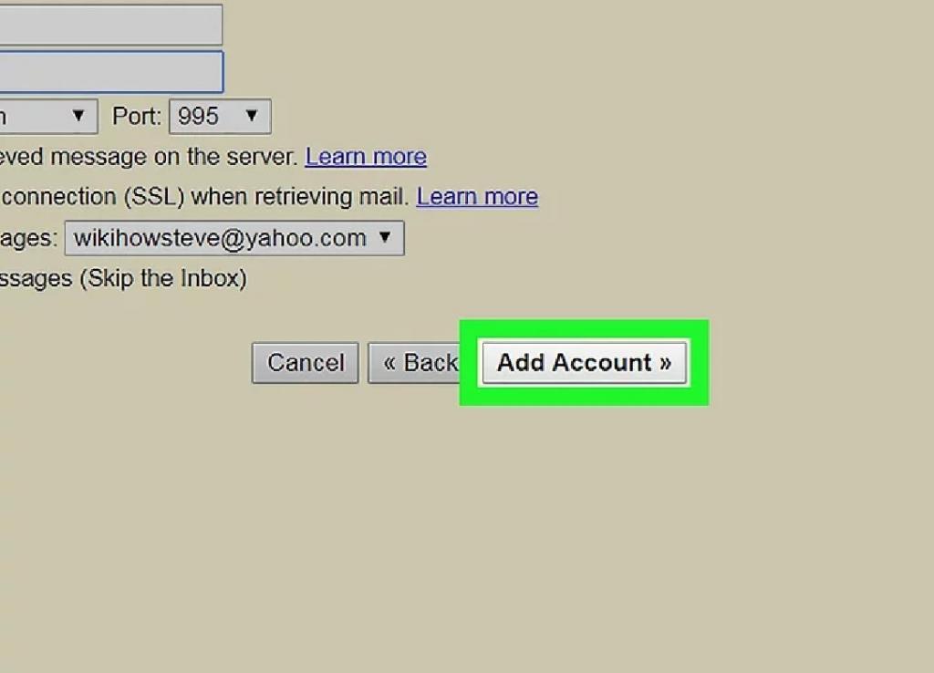 روی افزودن حساب کاربری کلیک کنید