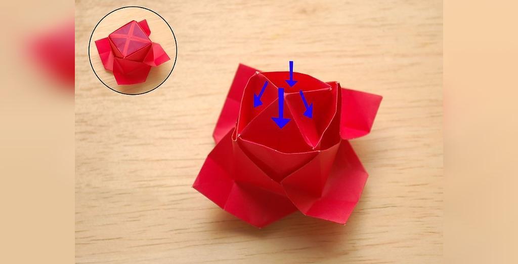 دستورالعمل درست کردن گل رز با کاغذ به صورت اوریگامی